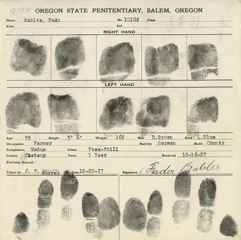 "Finger print card lists ""Fado"" Kables, age 55, height 5 ft 6 inches, weight 162, hair D. Brown, eyes L. Blue, occupation farmer"