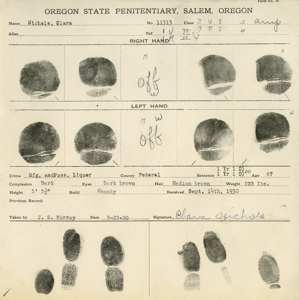 "Finger print card for Clara Nichols includes fingers of right & left hand but in the place for the middle fingers the word ""off"""