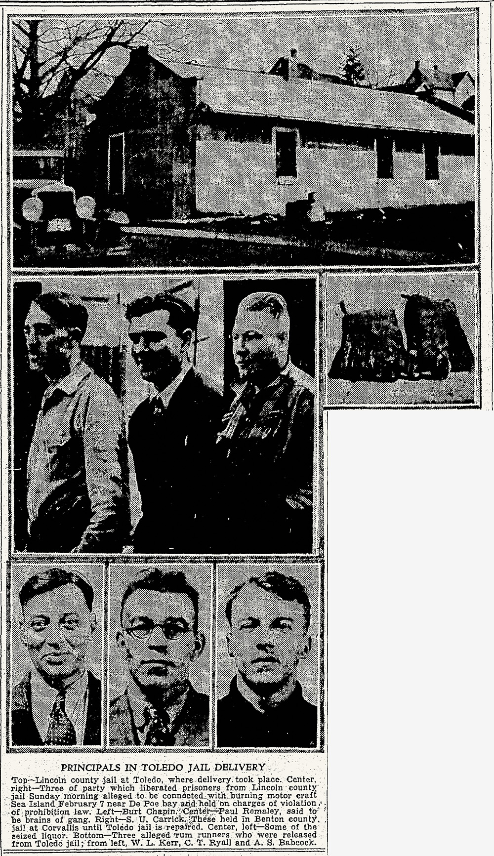 Newspaper clipping photos show jail house, 3 men standing side-by-side, seized liquor, another photo of 3 men's mug shots.