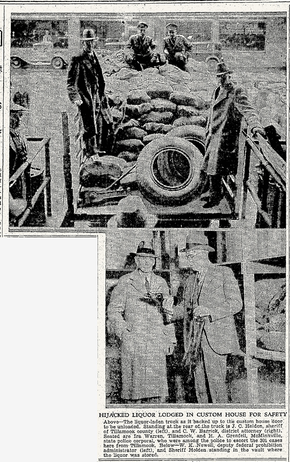 Newspaper clipping with 2 photos. 1 of 4 men standing in the bed of a truck full of packages, 1 of 2 men standing in a storeroom with shelving.