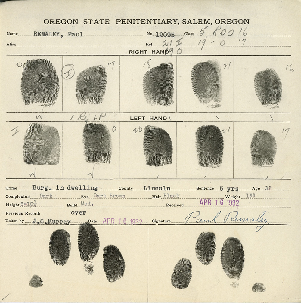 In addition to finger prints, Paul Remaley's finger print card lists his age as 32, complexion dark, eye dark brown, hair black