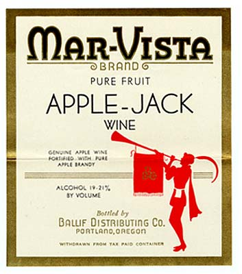"Silhouette of person blowing horn with a banner hangind down. Above reads ""Mar-Vista brand pure fruit Apple-Jack Wine."""