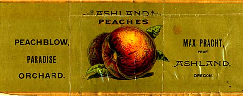"Drawing of peach resting on leaf. Words read ""Ashland Peaches, Peachblow, Paradise Orchard, Ashland, Oregon, Max Pracht Prop."""