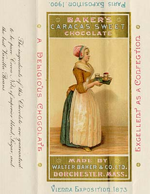 "Drawing of woman in 19th century dress holding tray with food and beverage. Reads ""Baker's Caracas Sweet Chocolate"""