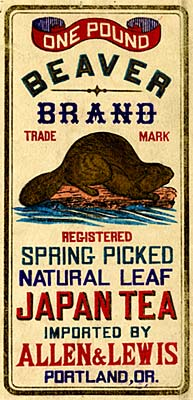"Drawing of beaver on a log with water under. ""One Pound Beaver Brand trade mark registered spring picked natural leaf tea"""