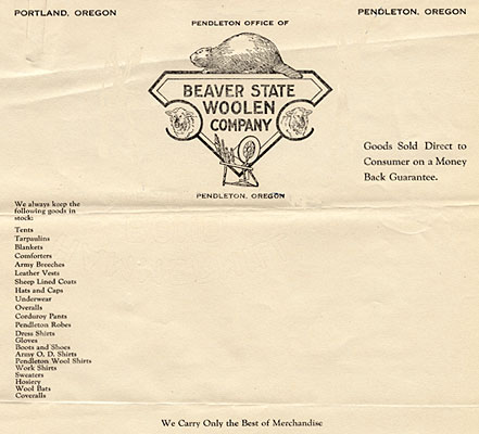 Letter with letterhead of Beaver State Woolen Company.