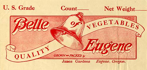 "Drawing of ringing bell with ribbon behind. Ribbon reads ""Quality Vegetables"" and ""Bell Eugene"" around image."