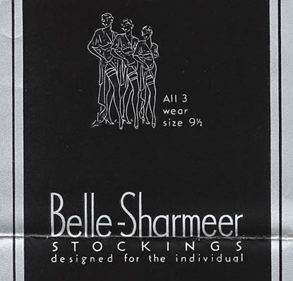 "Line drawing of 3 women showing stockings. Reads: ""All 3 wear size 9 1/2 Bell-Sharmeer Stockings designed for the individual"""