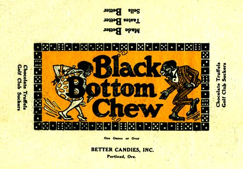 "Drawing of man and woman dancing to the sides of the words ""Black Bottom Chew"""
