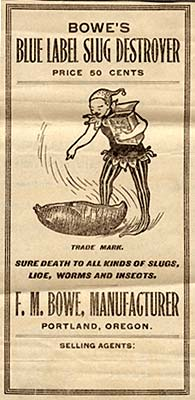 Drawing of an elf-like figure with a box of Blue Label Slug Destroyer stands over a slug almost larger than he is and points.
