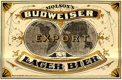 "Drawing of the earth as a globe split in 2 with ""Export"" over. ""Budweiser Lager Bier"" in banner"
