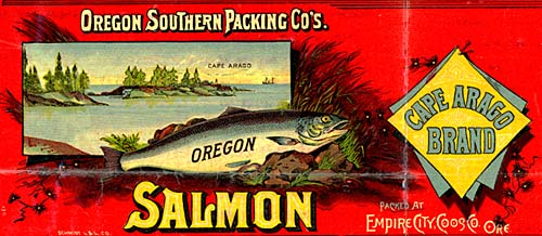 Drawing of salmon with drawing of cape arago in background. The cape has pieces of land with trees surrounded by ocean.