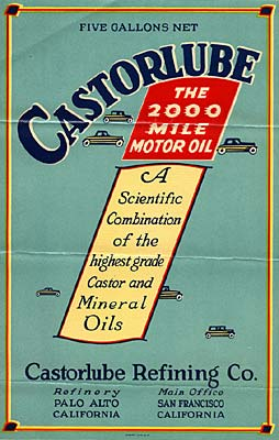 "Small cars surround: ""Castorlube the 2000 mile motor oil. A scientific combination of the highest grade castor and mineral oils"""