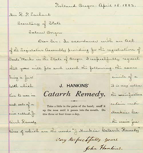 Catarrh Remedy with letter dated April 15, 1882