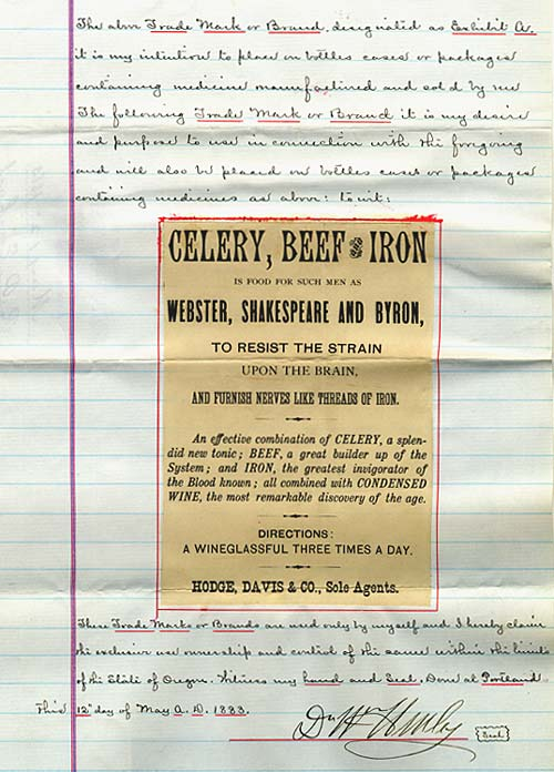 Celery, Beef and Iron label with hand written letter asking for trade mark registration.