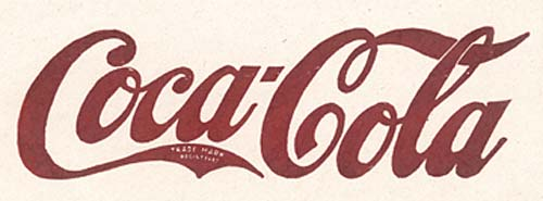 """Coca-Cola"" in stylized script. Red text."