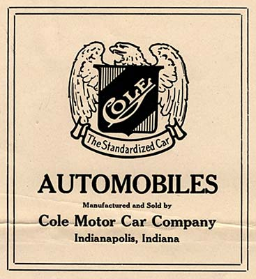 "An eagle with wings outstretched surrounding a shield with ""Cole"" name. Below: ""The standardized car"""