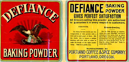 "Drawing of an eagle with a shield and arrows. The words ""Defiance Baking Powder"" above and below."