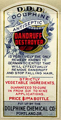 "Shield in center with flowers on side reads ""Dophine Antiseptic Dandruff destroyer"""