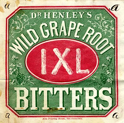 "Words ""Dr. Henley's Wild Grape Root Bitters"" surround a circle in the center with roman numerals IXL. Grapes & leaves adorn side"