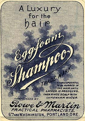 "Label in fancy script reads ""Eggfoam Shampoo a luxury for the hair. Compounded by Rowe & Martin Practical Pharmacists"""