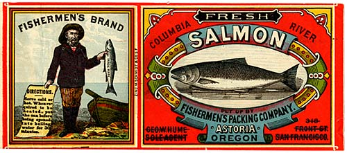 Drawing of fisherman holding a salmon in 1 hand and list of directions in other on left. Drawing of salmon on right.