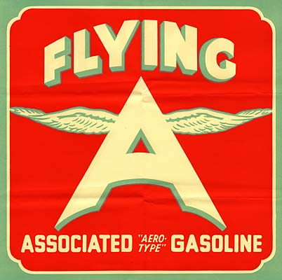 "Label for ""Flying A"" has letter A in center with wings attached at top. Below reads ""Associated Aero-type Gasoline"""