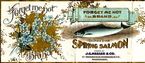 "Drawing of blue ""Forget me not"" flowers on left. On right the drawing of a salmon. Reads ""Forget me not brand salmon"""