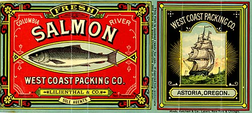 "Drawing of salmon on left. On right, drawing of a full-rigged sailing ship with words ""West Coast Packaging Co."" above."