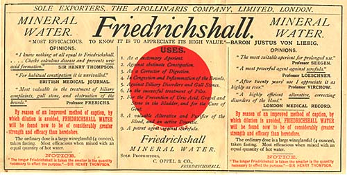 Friedrichshall mineral water label lists testimonials from British medical journal, london medical record & personal testimonials