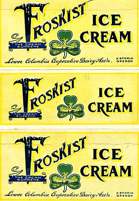 "Drawing of 3 leaf clover and the word ""Frostkist"" with snow topping the letters."