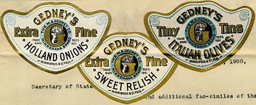 3 badges with different Gedney products: Extra fine Holland Onions, Extra Fine Sweet Relish, Tiny Tins Italian Olives