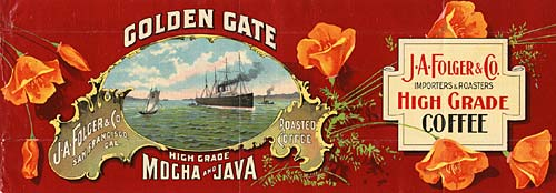 "Drawing of ships on the water in center. Reads ""Golden Gate High Grade Mocha and Java"""