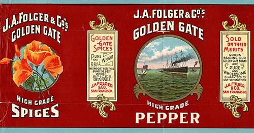 "On left orange flowers like poppies. On right, several ships on the sea. Reads ""J.A. Folger and Co's., Golden Gate"""