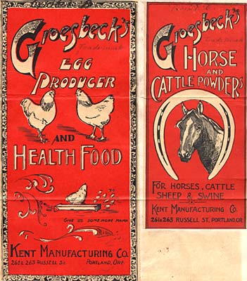 "Label with drawings of chicken & horse. Reads ""Groesbeck's egg producter and health food."" Other side: ""Horse and cattle powder"""