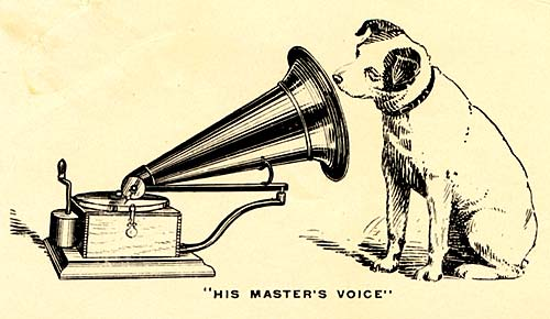 "Drawing of Nipper the terrier listening to a gramaphone with ""His Master's Voice"" below"