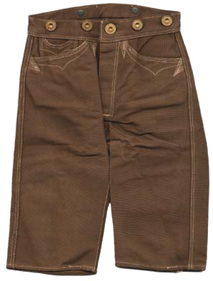 Photo of brown half-leg-length pants with rivets around waste line.