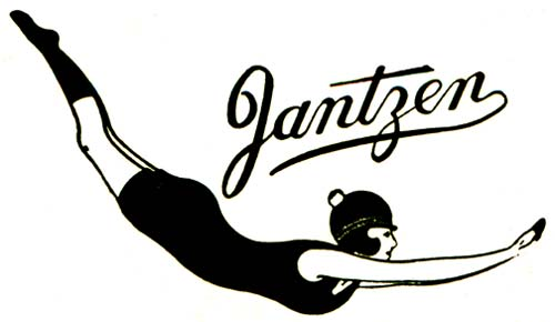 "Drawing of woman swimmer diving with the word ""Jantzen"" in fancy script above."