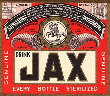 "Drawing of man on horse in center. Label reads ""Drink JAX Genuine Every Bottle Sterilized"""