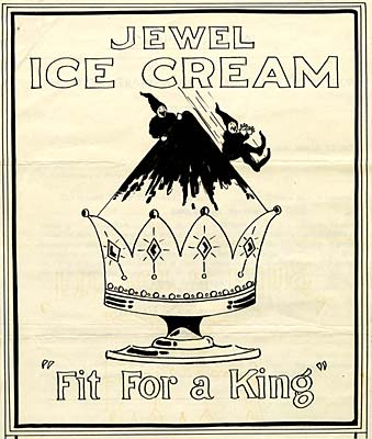 "Drawing of jeweled dish containing ice cream. 2 gnome like creatures slide down the side. Reads ""Jewel Ice Cream Fit for a king"""