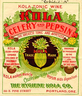 "Drawing of celery bunch in center with words ""Kola Tonic Wine, Celery and Pepsin, the greatest tonic and appetizer"" above."