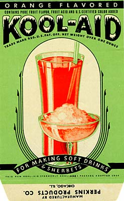 "Drawing of tall galss with orange liquid inside and a dish of similar solution, but frozen in front. ""Orange Flavored Kool-Aid"""