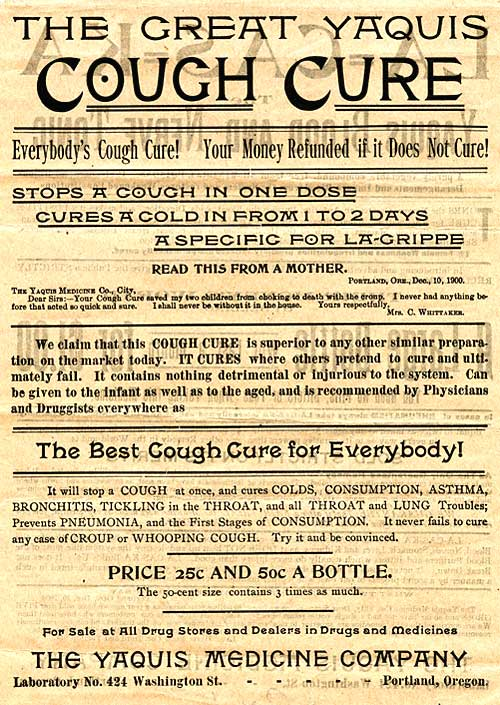 Label for The Great Cough Cure consists of claims to cure everybody and be superior to all other preparations on the market.