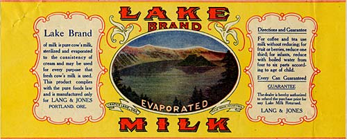 "Drawing of Crater Lake with Wizard Island in the center. Reads ""Lake Brand Evaporated Milk"""
