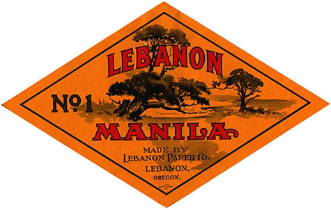"Drawing of trees with words ""Lebanon Manila"" over top. Under reads ""Made by Lebanon Paper Co. Lebanon, Oregon"""