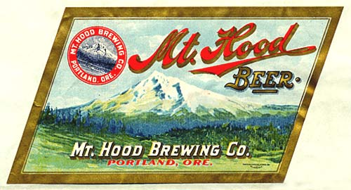 "Drawing of Mt. Hood with trees and grass land in front. ""Mt. Hood Brewing Co. Portland Ore."""