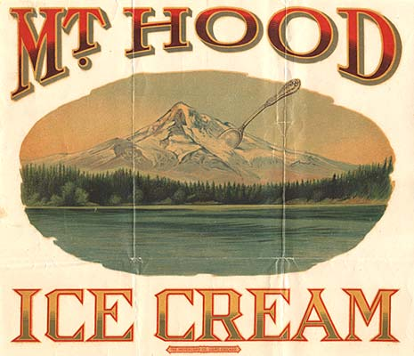 "Drawing of Mt. Hood with a giant spoon sticking out one side. Reads ""Mt. Hood Ice Cream"""