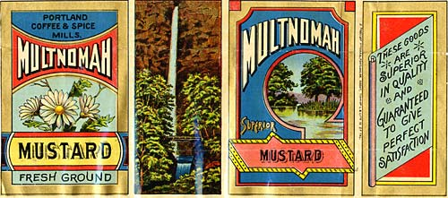"Drawing of Multnomah falls in center, daisies on left, trees and pond on right. ""Multnomah Mustard Fresh Ground"""