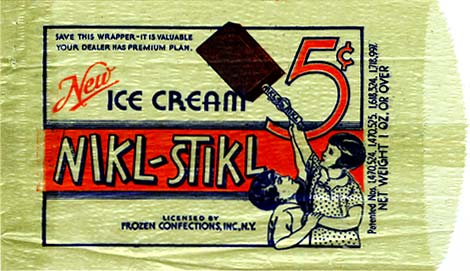 "Drawing of 2 children. One holds a large ice cream on a stick above reach of the other. Reads ""New Ice Cream Nikl-Stikl, 5 ¢"""