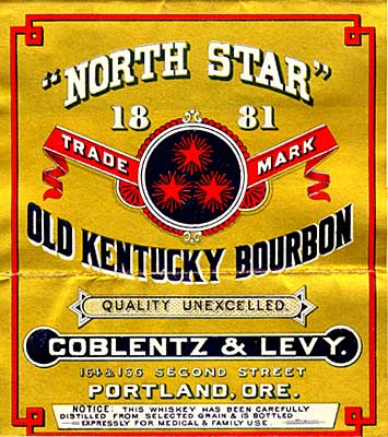 "Label reads ""North Star 1881 trade mark Old Kentucky Bourbon Quality unexcelled"""